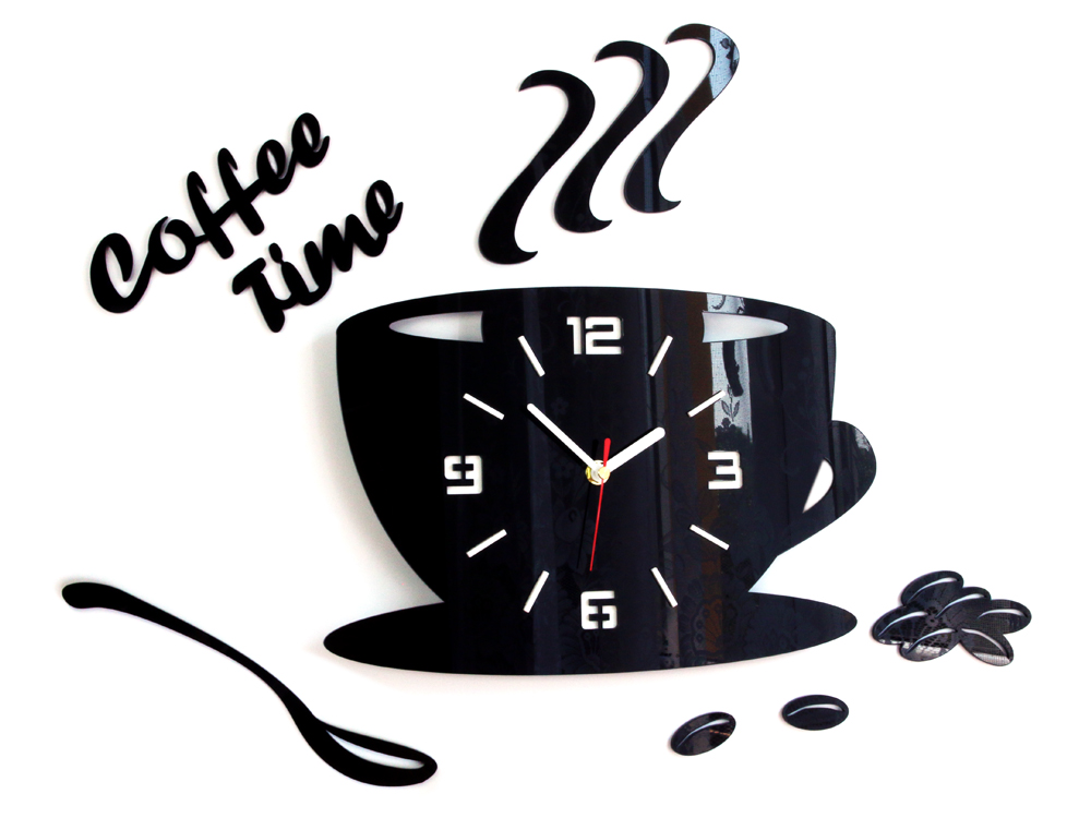 Moderni zidni satovi COFFE TIME 3D BLACK NH045-black