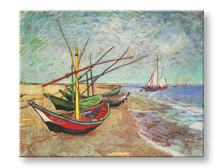 Reprodukcije FISHING BOATS ON THE BEACH AT SAINTS-MARIES - Vincent van Gogh