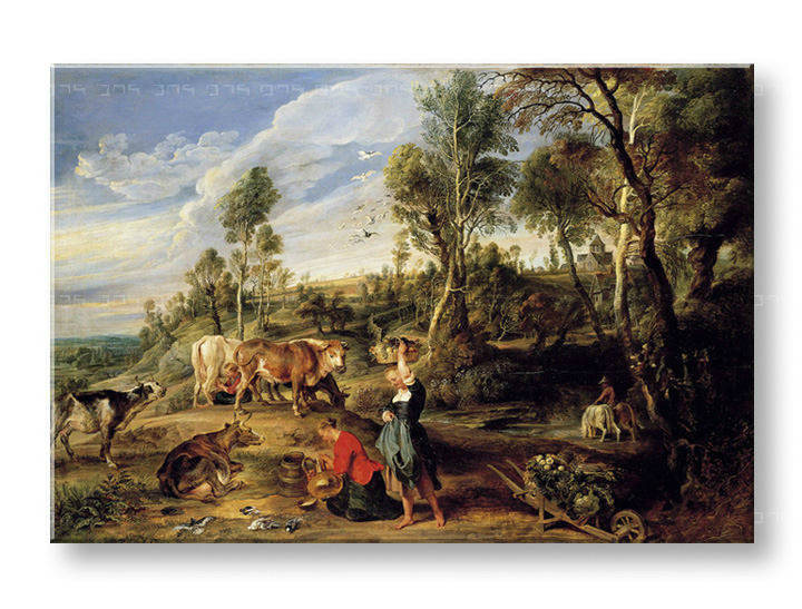 Reprodukcije MILKMAIDS WITH CATTLE IN A LANDCAPE - Peter Paul Rubens