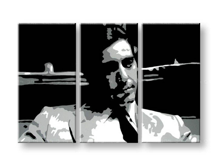 Ručno slikane slike na platnu Pop Art GODFATHER 3-delne 120x80cm
