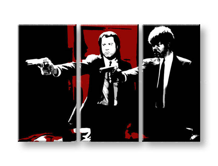 Ručno slikane slike na platnu Pop Art Pulp Fiction 3-delne 120x80cm