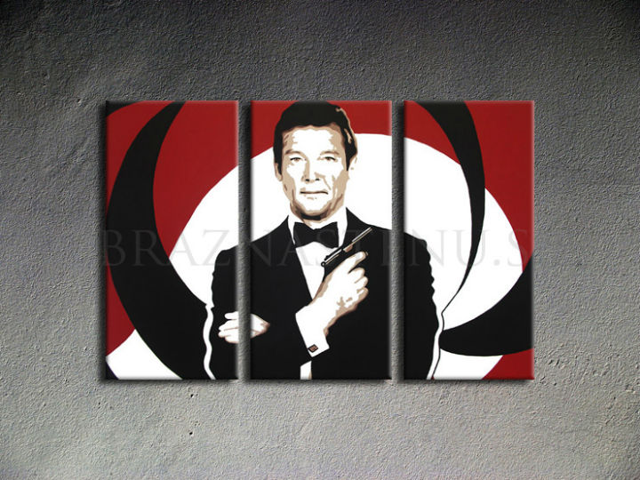 Ručno slikane slike na platnu Pop Art James Bond 3-delne 120x80cm