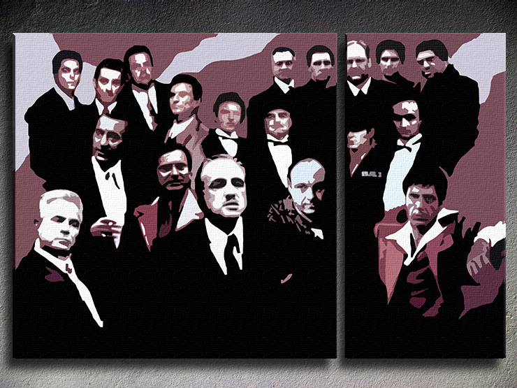 Ručno slikane slike na platnu Pop Art The MAFIA Family 2-delne
