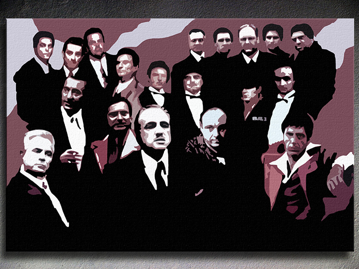 Ručno slikane slike na platnu Pop Art The Mafia Family 1-delne 120x80cm