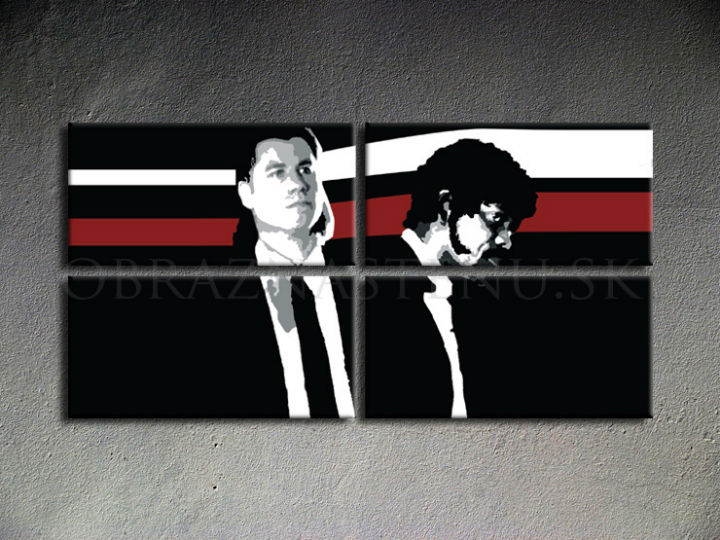 Ručno slikane slike na platnu Pop Art Pulp Fiction 4-delne 160x80cm