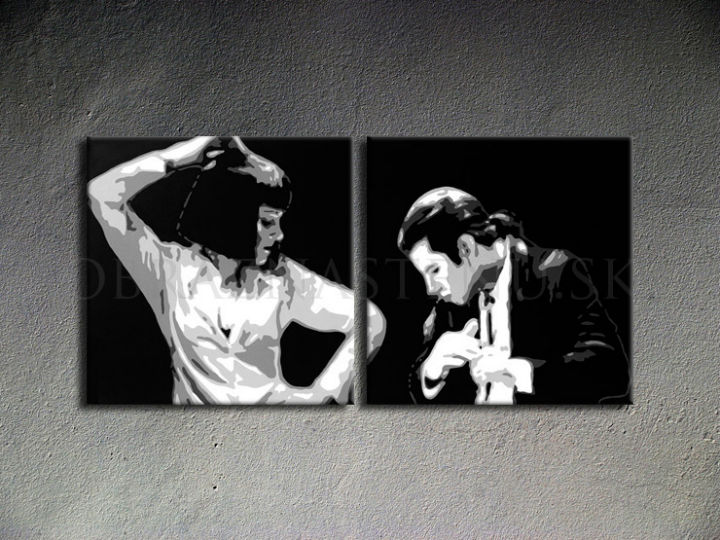 Ručno slikane slike na platnu Pop Art Pulp Fiction 2-delne 100x50cm