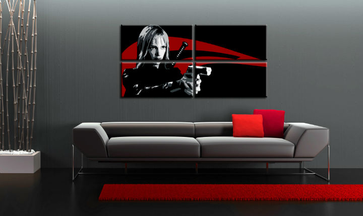 Ručno slikane slike na platnu Pop Art Kill Bill 4-delne 160x80cm