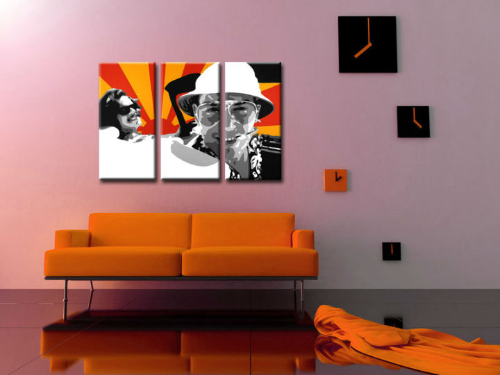 Ručno slikane slike na platnu Pop Art Fear and Loathing in Las Vegas 3-delne 120x80cm